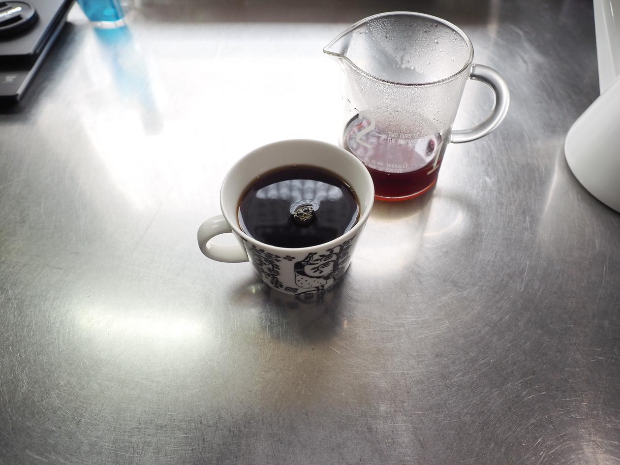 菊池恒琲_札幌_自家焙煎コーヒー_ブレンド_ハンドドリップで抽出完了