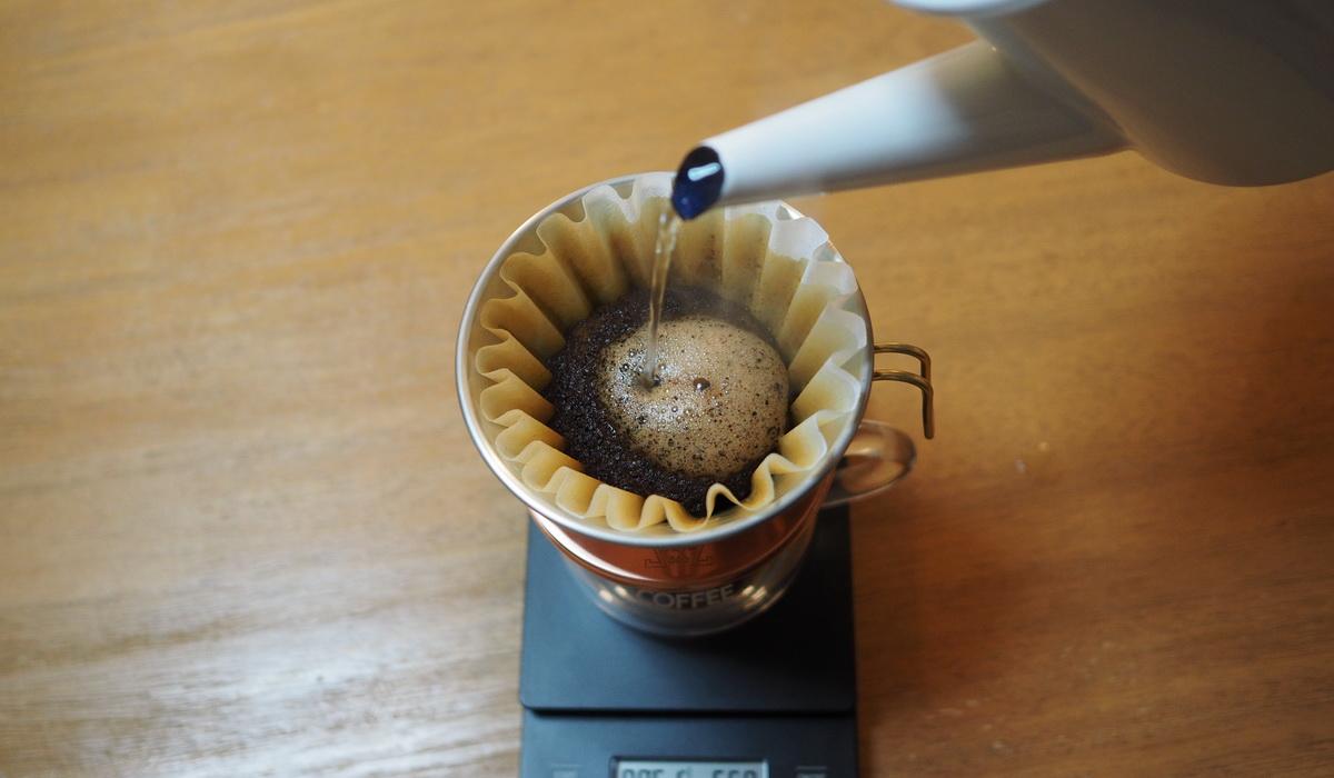 欅cafe_コーヒー豆_パナマエスメラルダゲイシャ_プライベートコレクション_抽出開始