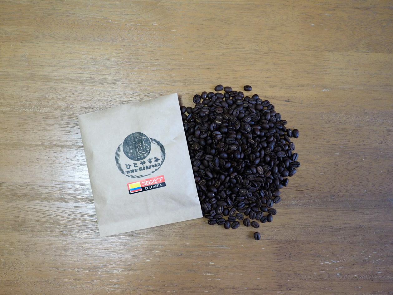 コロンビア_コーヒー豆100g_コーヒー豆の状態確認_姫路珈琲物語 クマネコ舎