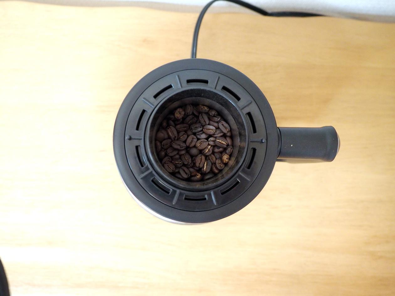 ホームロースターRT-01でコーヒー豆完成(焙煎したての状態)