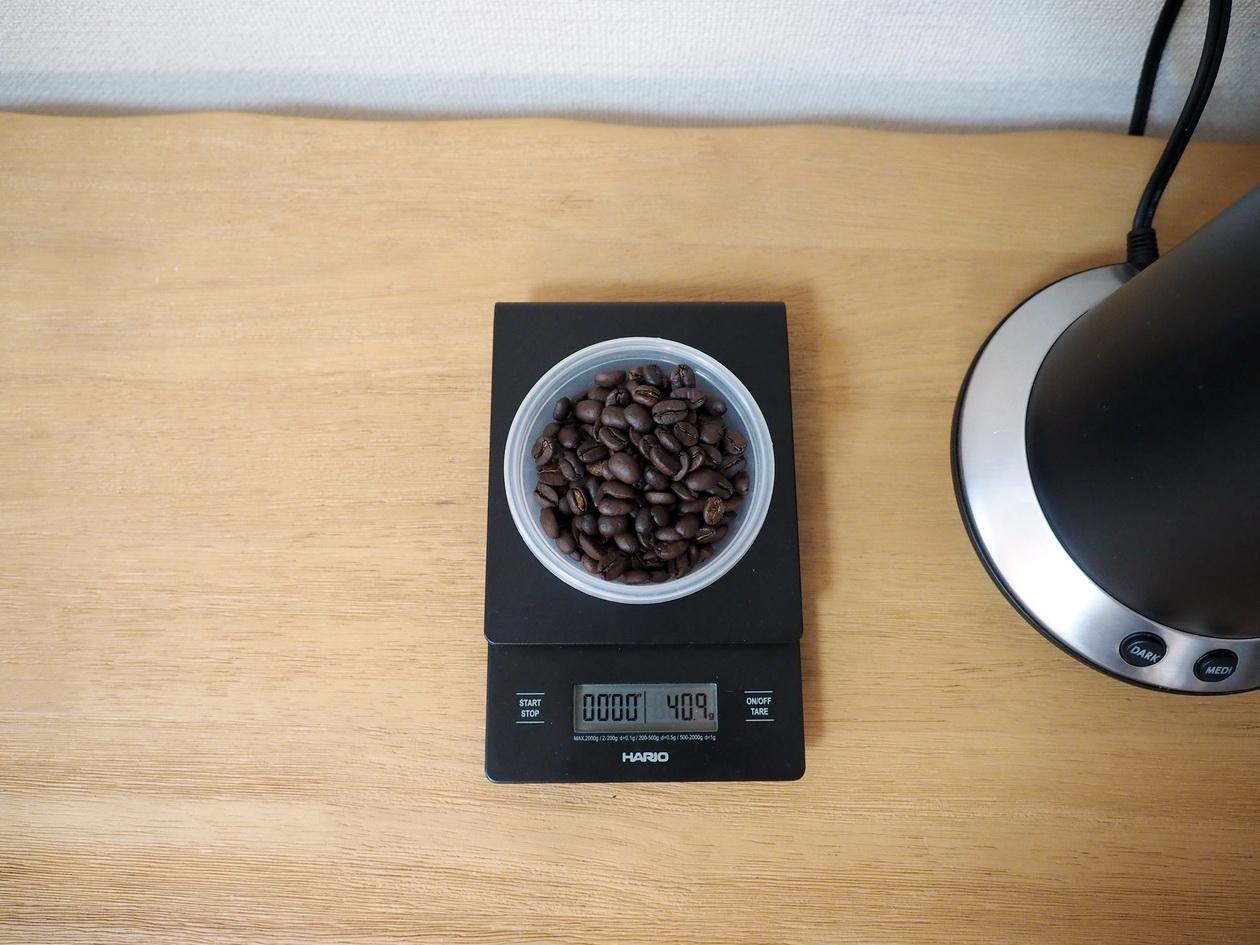 ホームロースターRT-01でコーヒー焙煎したら40gになった(生豆時は50g)