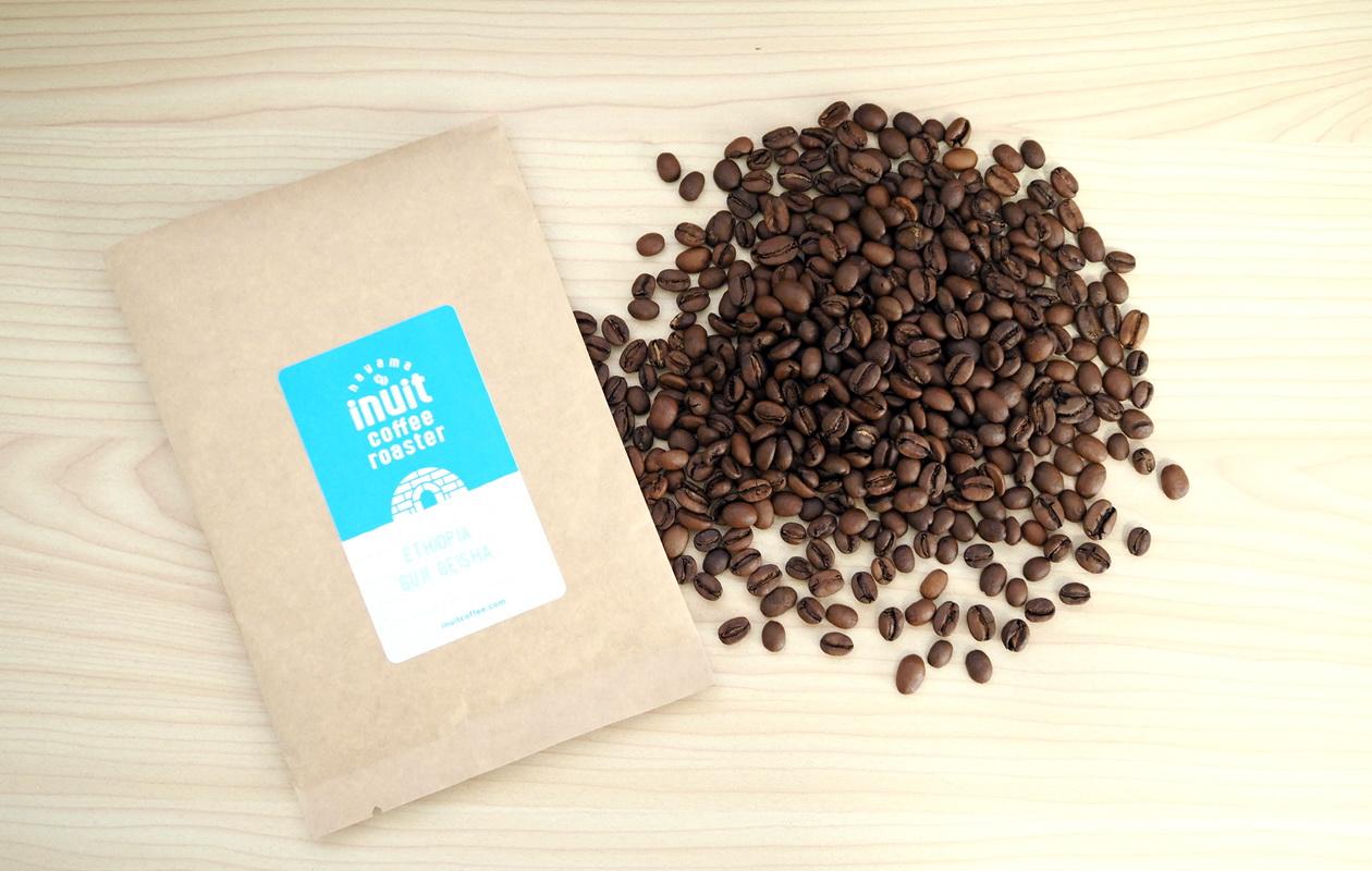 inuit coffee roasterのトライアルセット_エチオピア グジ ゲイシャ50gを開封